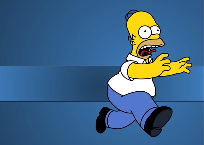 Homer huyendo del gimnasio