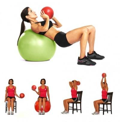 Ejemplos de ejercicios de Pilates con un balón