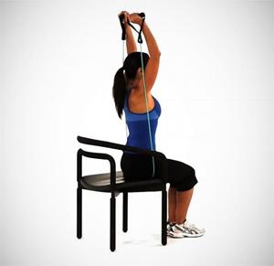 Tríceps sentado por detrás de la nuca