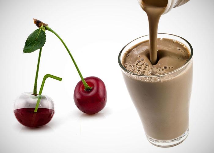 Cereza y cacao con leche