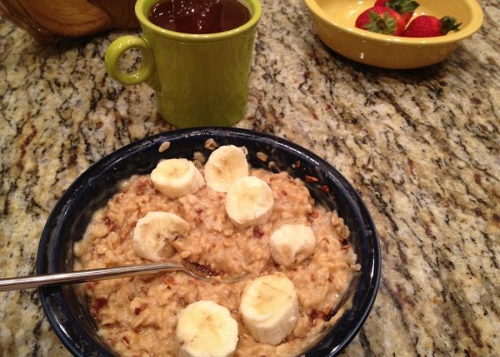 Porridge casero con plátano