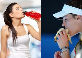 Dos deportistas tomando bebida y plátano