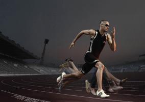 Velocista en plena competición