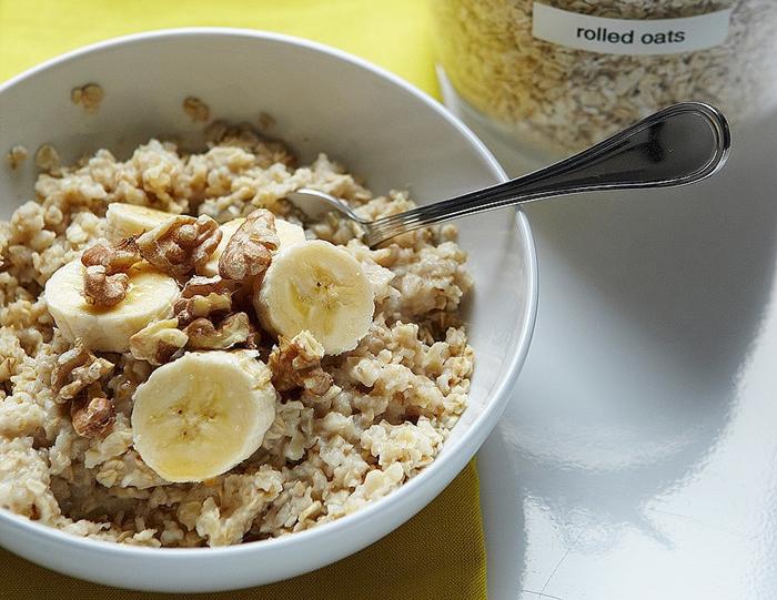 Porridge de avena con plátano