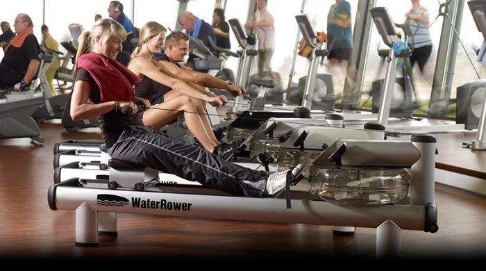 Chica entrenando en un remo del gimnasio