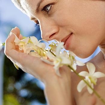 Mujer oliendo flor de lavanda