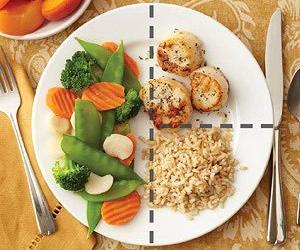 Plato con proteínas y carbohidratos