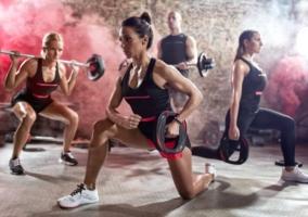 Entrenando body pump