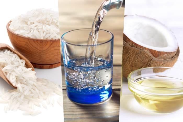 Arroz, agua y coco