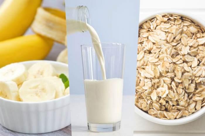 Plátano, leche y avena